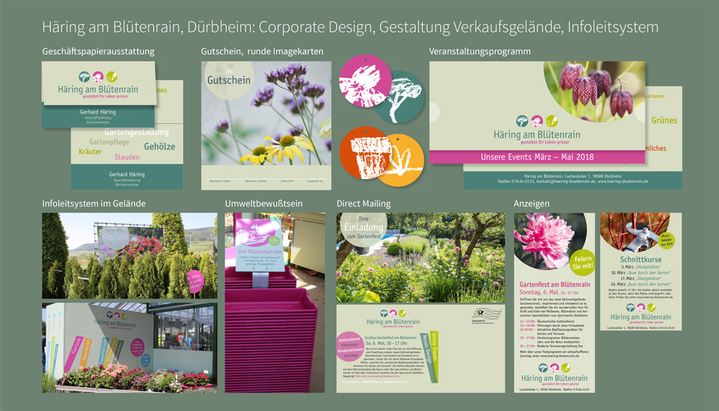 Corporate Design Gutschein Imagestelen Anzeigen Direct Mailings Visitenkarten Eventprogramm Häring am Blütenrain